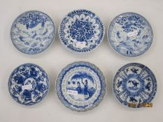 Six various Chinese porcelain saucers with underglaze blue figural, animal and floral decoration (6)