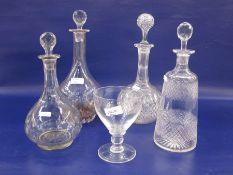 Cut glass decanter, mallet-shaped, two ball and shaft shaped cut decanters, another shouldered