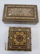Modern Sedeli work box of rectangular form, 22cm long and a similar parquetry box of square form (