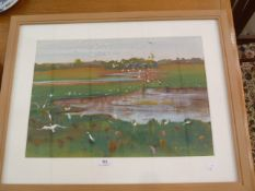 "B Arauyi (contemporary school) (Austrailian) Watercolour and gouache ""Wetlands: Capricorn Coast"
