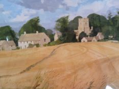 Allan Laycock Watercolour drawing Cornfield with village church  24 x 30 cms