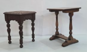 Early 20th century side table, the square top with carved decoration, moulded edge, on turned