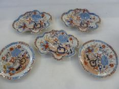 Three 19th century Masons ironstone dishes and two plates (5)