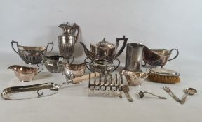 Quantity of plated ware to include teapot, flatware, pewter ware, silver-backed brush (dented) and