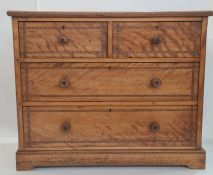 Late 19th/early 20th century walnut chest of two short over two long drawers, to bracket feet,