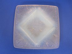 Lalique opalescent square dish 'Vezelay' pattern, 10cm diameter  Condition Reportsurface wear to the