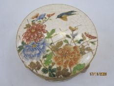 Late 19th/early 20th century Japanese Satsuma pottery lidded box, circular, chrysanthemum and bird