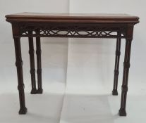 19th century Chippendale style card table, the rectangular flame mahogany and marquetry inlaid top