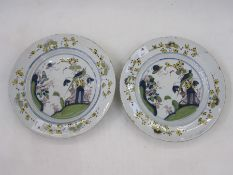 Pair of English delft plates, Liverpool circa 1760, decorated with exotic birds in floral landscape,