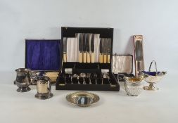 Quantity of plated cased flatware sets to include teaspoons, milk jug, tankard, spoons, etc