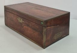 19th century rosewood, brass-bound writing slope with campaign-style brass handles , this need