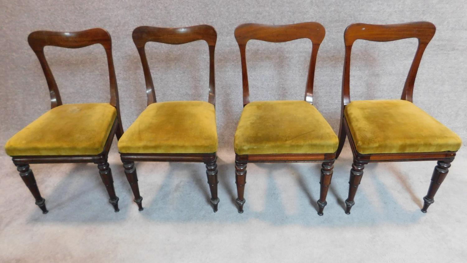 Lot 24 - A set of four mid Victorian mahogany dining chairs with shaped backs, mustard upholstery on turned
