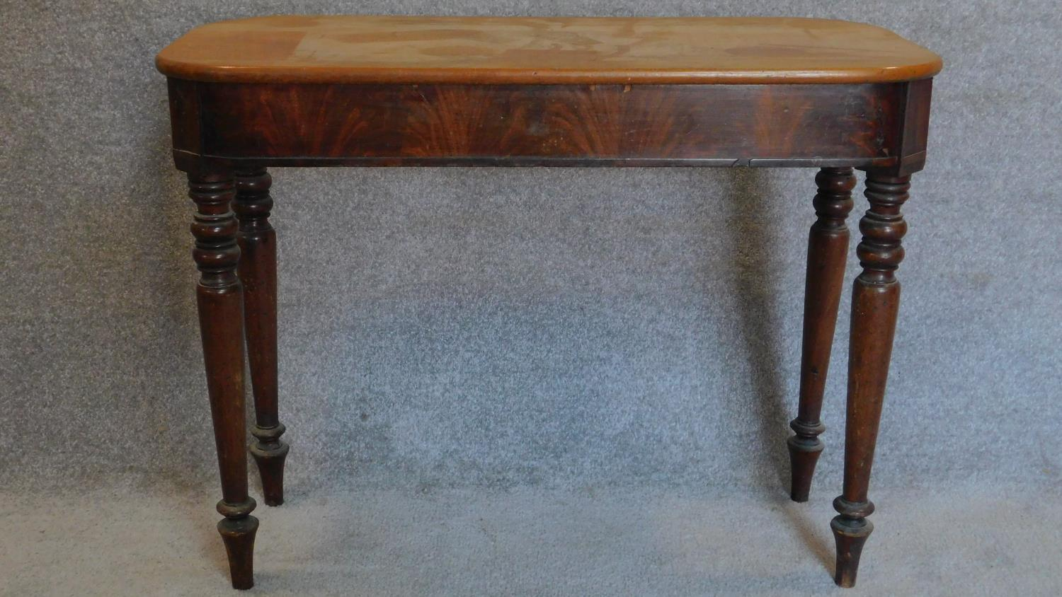 Lot 16 - A 19th century mahogany side table with associated top. 70x94x46cm