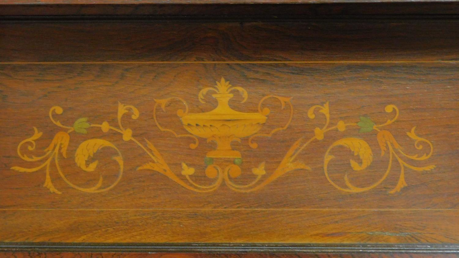 Lot 27 - A late 19th century rosewood and satinwood inlaid mirror backed sideboard, urn and swag arabesque