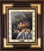 A framed oil on canvas, still life fruit, signed verso. 55cm x 65cm.