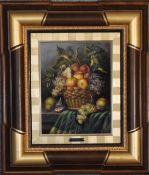 A framed oil on canvas, still life fruit, signed A Huerta. H.55cm x 65cm.