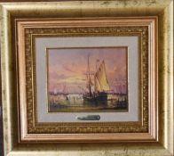 A gilt framed oil on board, a sasiling ship, signed F Sanchez. H.40cm x 45cm.