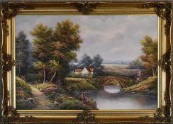 A gilt framed oil on canvas, river scene, signed K. Roberto, H.76 x 105cm