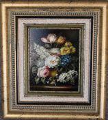A gilt framed oil on canvas, still life flowers, signed. 39cm x 43cm.