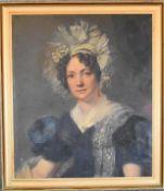 A 19th century gilt framed oil on canvas, portrait of Sarah Mair, inscription verso. H.79 x 69cm