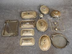 A miscellaneous collection of silver plated tureens, lids and a tray. (10 pieces)