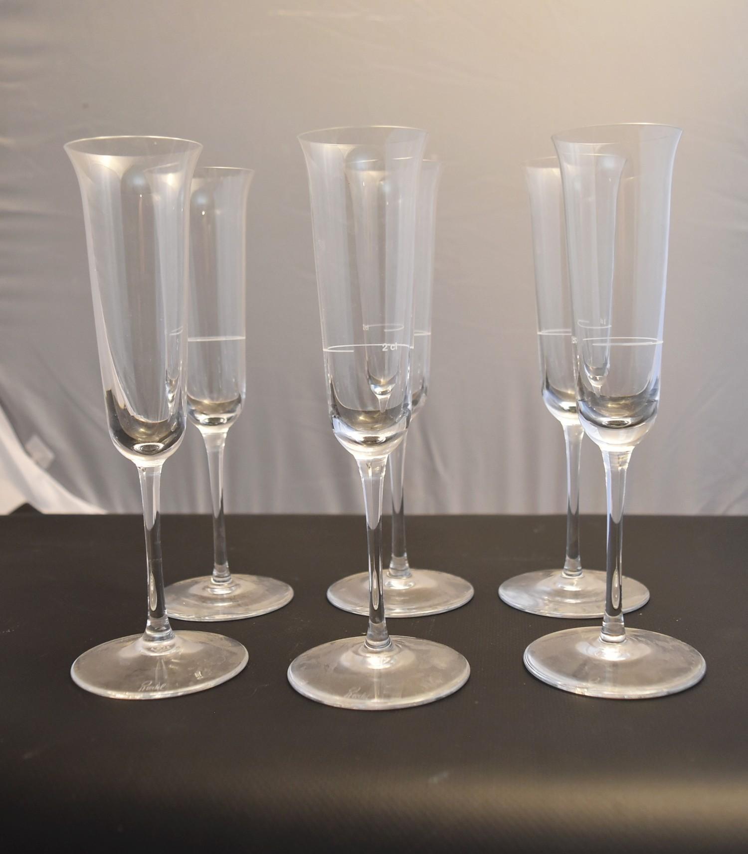 Lot 17 - A set of six Reidel champagne flutes. H20cm