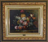 A gilt framed oil on canvas, floral scene, signed Frances. 100 x 85 cm