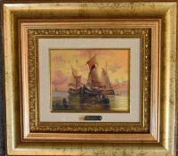 A gilt framed oil on board, sailing ship, indistinctly signed 40cm x 45cm.