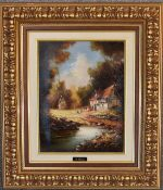 A gilt framed oil on canvas, wooded landscape. 48cm x 57cm.