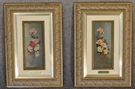 A pair of gilt framed oil on board, flowers, signed Gisbert. 35cm x 43cm
