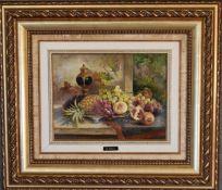 A gilt framed oil on canvas, still life fruit, signed J Perez. 66cm wide x 57cm tall.