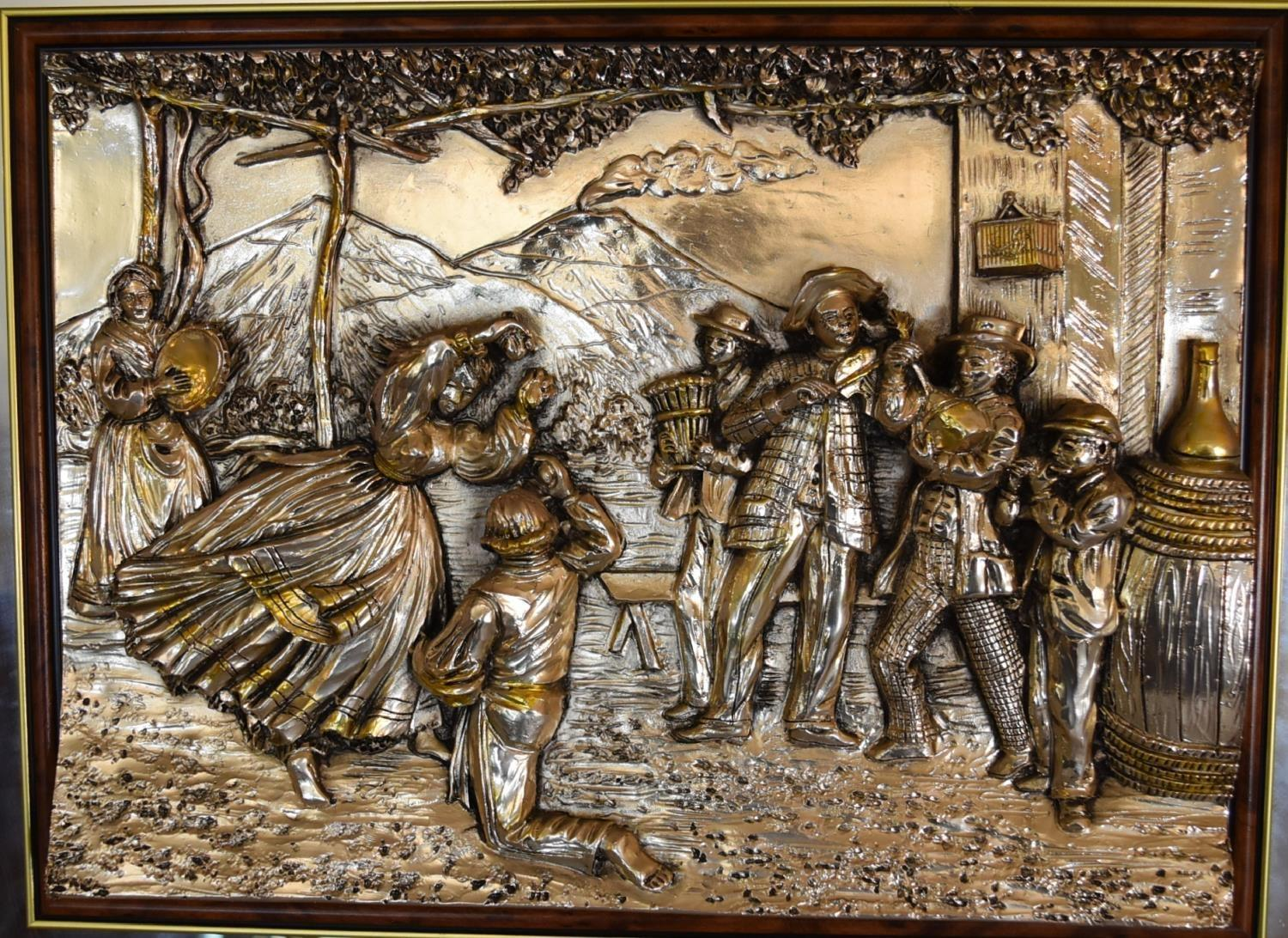 Lot 7 - A framed mirror with applied silver moulded tableau depicting musicians and dancing. 72cm x 60cm.