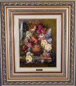 A gilt framed oil on canvas, still life flowers, signed by Omarres. H.52cm x 60cm