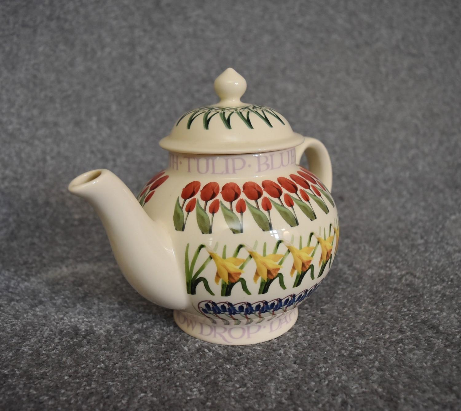 Lot 1 - A 20th Century globular form teapot with floral design, by Emma Bridgwater. H22cm
