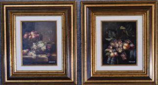 A pair of gilt framed oils on board, still life fruit, signed Hofman. H.40cm x 45cm.
