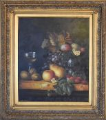 A gilt framed oil on canvas, still life fruit, signed Robert Driscoll. H.83 x 74cm