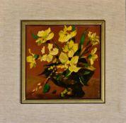 A pair of framed oils on terracotta tile, still life flowers, monogrammed. 45x45cm (some paint