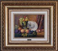 A gilt framed oil on canvas, still life fruit, signed J Perez. 64cm x 57cm.