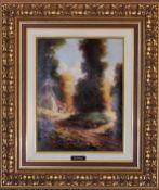 A gilt framed oil on canvas, country landscape. 48cm x 57cm.