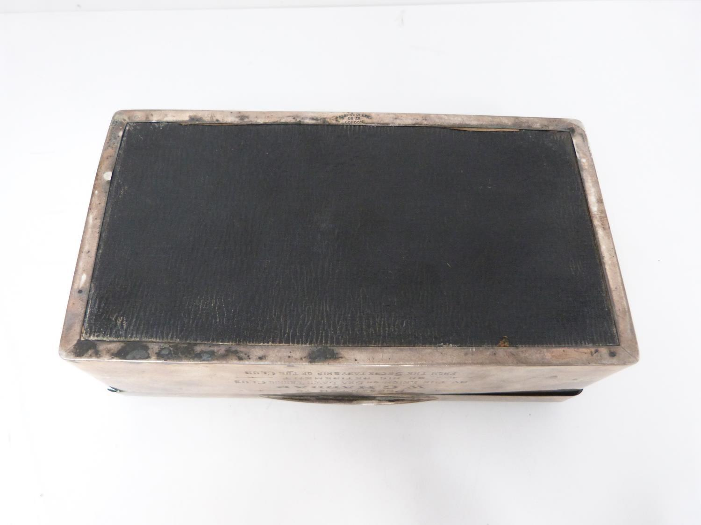 Lot 9 - A silver cigarette box, cedar lined, London 1922, Alex Clark Ltd, inscribed with dedication.