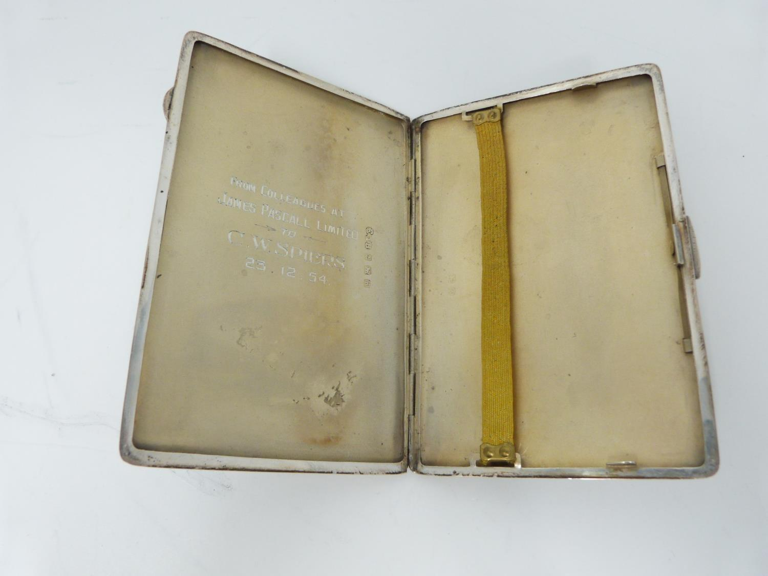 Lot 8 - A rectangular engine turned decorated cigarette case, Birmingham, 1946, E J Houlston, engraved to