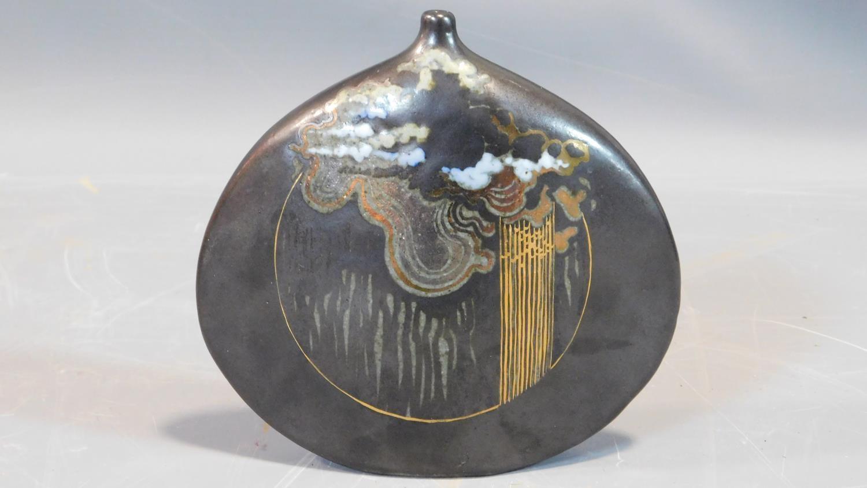 Lot 22 - Studio Pottery Raku vase by D Cohen, signed to base,1976. Oriental inspired design H.15cm