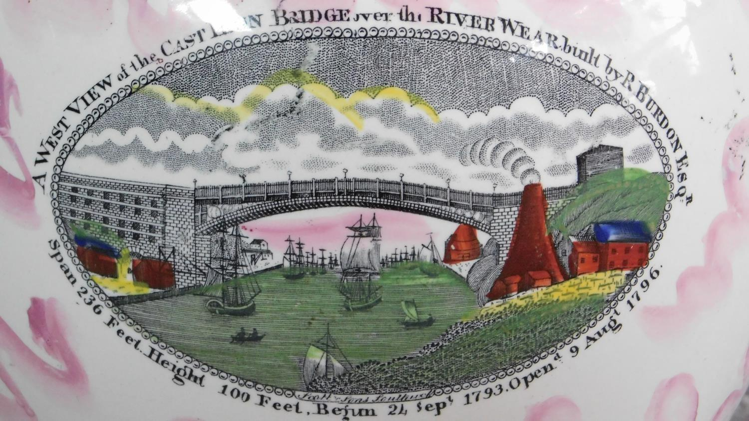 """Lot 19 - A Sunderland lustre ware jug. """"A West View of the cast iron bridge over the River Wear built by R."""