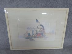 A framed watercolour of a native American chief with bison. Carlo Grassi gallery, Milan stamp to