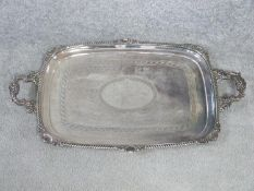 A Victorian silver two handled tray. Hallmarked CE & Co for Charles Ellis & Co, Sheffield, 1899.