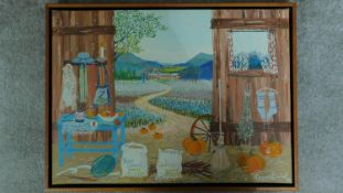 A framed oil on canvas by Argentina artist Virginia Bellati showing open barn doors with pumpkins