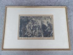 A 19th century framed signed engraving by Adolph Von Menzel, German 1815-190. 'The Thirsty Cavalier'