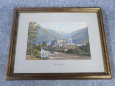 A 19th century gilt framed and mounted watercolour of Tintern Abbey. 38x31.5