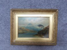A giltwood framed 19th century oil on panel of Loch Loman, 1866. Signed Tnai H Hair to reverse.