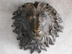 An Italian antique bronze wall mounted lion head. Realistically modelled. 45x46cm